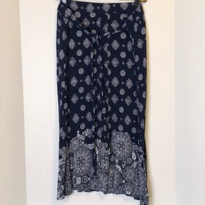 Westport | Navy and White Button Front Skirt 1X